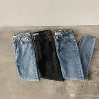 pantalones de mujer de estilo coreano al por mayor-Pantalones vaqueros estilo boya de cintura alta negros de Mooirue lavados vintage, estilo coreano, pantalones de mezclilla
