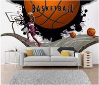 Wholesale basketball mural bedroom resale online - 3d wallpaper custom photo Modern broken wall basketball bar coffee home decor living room d wall murals wallpaper for walls d living room