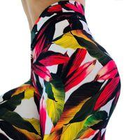 jeggings yazdırıyor toptan satış-Yeni Akçaağaç Yaprağı Yoga Tayt Kadınlar Yüksek Bel Baskı Sweatpants Egzersiz Push Up Eğitim Jeggings Spor Sıska Spor Pantolon