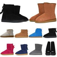 kısa bayan için ayak bileği botları toptan satış-Boots Kadın çizmeler Kısa Mini Avustralya Klasik Diz Tall Kış Kar Botları Tasarımcı Bailey Bow Ayak Bileği Papyon Siyah Gri kestane kırmızı 36-41