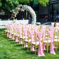 ingrosso sgabelli da fibbia-Soft Satin Sash per Wedding Chair Cover Sash Coprisedile Band con fibbia Chiavari Sedie Decorazione