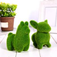 künstliche tiere heimdekorationen großhandel-Kunstrasen Gras Tier Nette Handgemachte Ostern Kaninchen Design Hausgarten Dekoration Schreibtisch Ornament 7 teile / los
