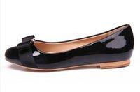 kravat yastıkları toptan satış-Kadın Flats Topuk Marka Hakiki Deri Bale Ayakkabıları Kadın Papyon Tasarımcı Flats Bayanlar Zapatos Mujer Sapato Feminino Rugan yay
