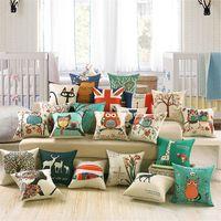 lits de chat modernes achat en gros de-Fashion Square Canapé-lit en lin coton Taie Owl Cartoon Cat Imprimé motif imprimé moderne oreiller Coussin de siège