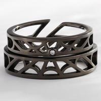 anillos de parejas rojas al por mayor-Joyas de lujo S925 anillos de plata esterlina pareja ahueca hacia fuera anillos red anillos abiertos para pareja moda caliente