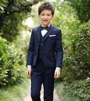 9229fa19d72 2019 new Kid Blazer suits 2-15Yrs Little Boy shirt jacket Vest Pant Tie 5  Parts Slim Child costume Wedding Flower boy Dress