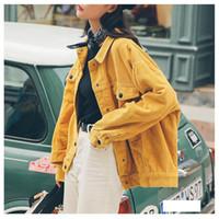 yeni şık bayan ceketi toptan satış-Cepler Pamuk Kadife Ceket Kadınlar Temel Şık İnce Moda Kabanlar ile Bayanlar Ceket Bayan Ceket Şık Yeni 2019 Bombacı Ceket