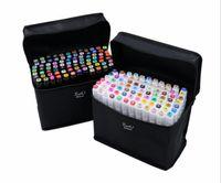ingrosso set di marcatori d'arte-marcatori basati Hot TouchFIVE 80 Dual Color Headed Art Markers Set disegnatore grassa alcool per Animazione Manga penna di lusso materiale scolastico