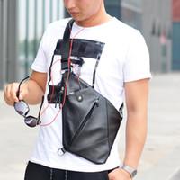 lustige handtaschen großhandel-PURANI Männer Brusttasche für Männer Leder Crossbody taschen Männliche Umhängetasche Mann Lässig Reise Handtaschen Umhängetaschen Lustige Packung