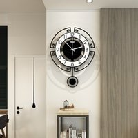 Wholesale modern swing for sale - Group buy 2020 Swing Acrylic Quartz Silent Clock With Wall Sticker Modern Design Pendulum Watch Clocks Living Room Decoration CM Y200407