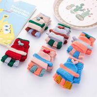 Wholesale flip screen online – custom 3 Year Old Children s Winter Acrylic Thick Knit Warm Half Finger Flip Mittens Cartoon Dog Touch Screen Writing Gloves