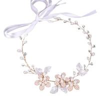 tiara örme baş bantları toptan satış-El-örme Headdress Gelin Tiara Nişan Düğün Kızlar Çiçek Şerit Styling Kafa Saç Aksesuarları Yapay