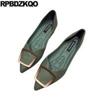фарфоровая обувь оптовых-прогулка женская мода женщины одеваются обувь зеленые квартиры китай острым носом слип на металл желтый дизайнер 2019 женщина удобная