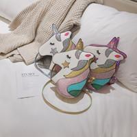 ingrosso borse di sequin bling-3styles Unicorn Sequin borsa laser bling bag Ragazze portamonete sacchetto del telefono borsa Glittler spalla bambini principessa crossbody Borse FFA2164
