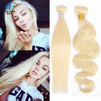 Wholesale 613 blonde hair weave curly online - 3 Bundles Color Lightest Blonde Bleach Blonde Remy Hair Extensions Silk Straight Body Wave Deep Curly Quality Brazilian Human Hair Weave