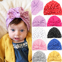 Wholesale baby beanies patterns for sale - 1 Years Baby Beanie Hat Polka Dot Pattern Princess Kids Girls Soft Cotton Cloth Caps Bunny Ears Accessories colors