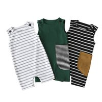 2020 New Baby Romper Cotton Striped Sleeveless Infant Jumpsuit Boy Clothes Onesies Baby Clothes Newborn Baby Girl Clothes L0213