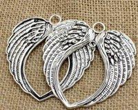alas de angel tibetano al por mayor-Colgantes de plata tibetana Alas de ángel Colgantes 65x69mm Cómo hacer joyería europea Pulsera Collar Pendientes Hombres Mujeres Accesorios 35pcs