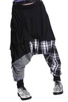 мешковатый трусик оптовых-Hip-hop Splice Lattice Women's Sweat Pants Double Bag Harem Baggy Cotton blend-black