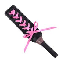 cuero rosa sm al por mayor-HOT SM SP Cintas de cuero negro Paleta Cosplay Coquetear Juguetes Sexo Juego Rosa AU653