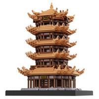 grilles à jouets achat en gros de-Célèbre architecture chinoise antique de la Chine de la grue jaune rue modèle de la rue petites blocs de construction de briques compatibles bloc jouets