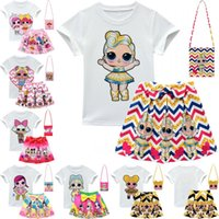 Wholesale baby suit kids sets girl dress for sale - Group buy Surprise Girls Skirt Tee Suit Baby T shirt Skirt Bag Set INS Kids Designer Clothing Girl Dress Set Baby Summer Clothing Set