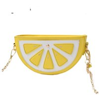 лимонные сумочки оптовых-Модные женские сумки Сумки с фруктами Арбуз Оранжевая сумка Карманные сумки на ремне с лимоном