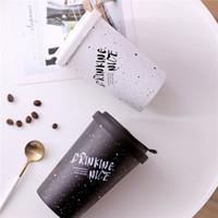 imprimir canecas cerâmicas venda por atacado-Cerâmica Caneca de Café INS Criativo Reutilizável Letras de Impressão de Café Copo de Água de Suco de Viagem Caneca de Água Escritório em Casa Caneca de Café