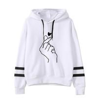 sevimli kpop toptan satış-Yeni Kpop Tatlı Sevimli Parmak Kalp Aşk Size Hip Hop Kazak Sonbahar uzun kollu Şarap kırmızı hoody hoodies ile Şapka ile Outerwears