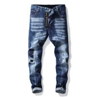 jeans tamanho grande designer venda por atacado-Denim Jeans Homens Designer Marca Reta Skinny Buraco Tamanho Grande Desgastado Toda a Temporada Estilo Casual Calças Elegantes