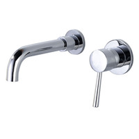 Wholesale painting faucets white for sale - White Paint Brass Wall Mounted Basin Faucet Bathroom Faucet In Wall Mount Single Handle Hot And Cold Mixer Water Tap