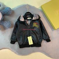 kız çocukları için deri ceketler toptan satış-Çocuk ceket çocuklar tasarımcı giyim deri kapüşonlu ceket ceket erkek ve kız moda yeni sonbahar PU ceket