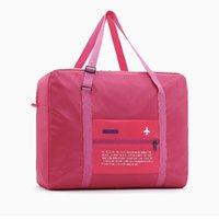 naylon su geçirmez katlanır çantalar toptan satış-Moda su geçirmez seyahat çantası büyük kapasiteli seyahat bayanlar naylon katlanır çanta unisex erkek bagaj seyahat çanta (kırmızı)