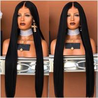 perruque longue cheveux lisses 34 achat en gros de-30 pouces Longue partie profonde Brésilienne droite pleine perruques de lacets Avec Bébé Cheveux Partie Centrale synthétique Avant de Lacet Perruques Pour les femmes afro-américaines