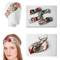bandas de flor venda por atacado-Designer 100% Blooms Impressão de Seda Headband Moda de Luxo Elastic Hair bandas Para As Mulheres Menina Floral Retro Pássaro Turbante Headwraps Presentes