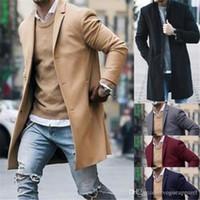 abrigo de color caqui al por mayor-Hombres de mediana longitud mezcla de lana Parkas negro caqui abrigos de cuello de solapa hombre invierno moda ropa moda