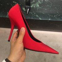 vestido rosa satinado zapatos negros al por mayor-2018 Primavera Nuevas Mujeres Calientes Púrpura Rosa Negro Satén Punta estrecha Resbalón En 10.5 CM Talón Spandex Bombas Zapatos de vestido de fiesta 43