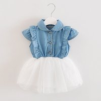 vestidos de princesa drop ship al por mayor-USPS baby girl baby boy Toddler Infant Girls Denim Tutu Tulle Princess Dresses Sundress Outfits 2019 envío de la gota regalo