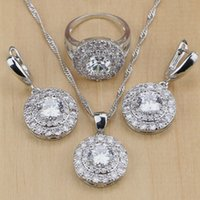 Wholesale mystic jewelry for sale - Group buy 925 Sterling Silver Jewelry Mystic White Cubic Zirconia Jewelry Sets For Women Earrings Pendant Necklace Ring