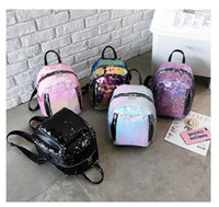 Wholesale lip types online - Women Bling Sequins Backpack Fashion Solid School Bags For Teenager Girls Casual Preppy Style Lips Fashion Female Backpacks MMA1320