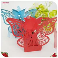 verzieren süßigkeiten-box großhandel-Die neuesten 10 Stücke von exquisiten Candy Box Hochzeit, Schmetterlingsform, hohle Laserschneiden, verwendet, um die Hochzeit, party9Z zu schmücken