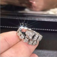 ingrosso anello di giorno del biglietto di s. valentino dell'oro bianco-Fashion Handmade Snake Promise Ring Oro bianco Filled Diamond Fidanzamento anelli di fidanzamento per le donne uomini regalo di San Valentino