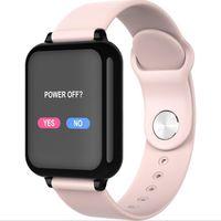 assistir oxímetro venda por atacado-Moda B57 tela colorida relógio inteligente freqüência cardíaca oxímetro de pressão arterial chamada passo lembrete Bluetooth esportes à prova d 'água pulseira