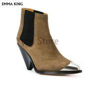 kadın çizme kapakları toptan satış-YENI İlkbahar / Sonbahar Metal Kapak Sivri Burun Spike Topuklar Ayak Bileği Çizmeler Kadın Patik Moda Botas Mujer2019 Moda Ayakkab ...