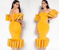 sexy gelb tee länge kleid großhandel-African Sexy Schulterfrei Gelbe Meerjungfrau Ballkleider Einzigartige Kurze Ärmel Tee Länge Abendkleid Vestidos Aso Ebi Cocktail Party Kleider