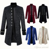 ingrosso giacca di merletto del mens-5 Colori S-XXXL Giacca da uomo con frange in pizzo retrò, giaccone vittoriano, cappottini con coda di ringmaster gotica steampunk