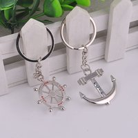 Wholesale anchor rudder keychain resale online - Anchor Rudder Alloy Couple Keychain Love Key Rings Bag Pendant Event Party Supplies Wedding Gift WB96