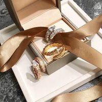 Wholesale couple ring for sale - Group buy Animal Snake Round Finger Gold Rings for Womans Zircon Crystal with Cubic Zircon for Womans Party Wedding Rose Gold Color