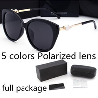 Wholesale frames for women resale online - Fashion pearl Designer Sunglasses High Quality Brand Polarized lens Sun glasses Eyewear For Women eyeglasses metal frame color