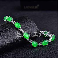 Wholesale green jade gemstone resale online - Garnet Sterling Silver Women Zircon gemstone bracelet green jade beads bracelets silver bracelet woman